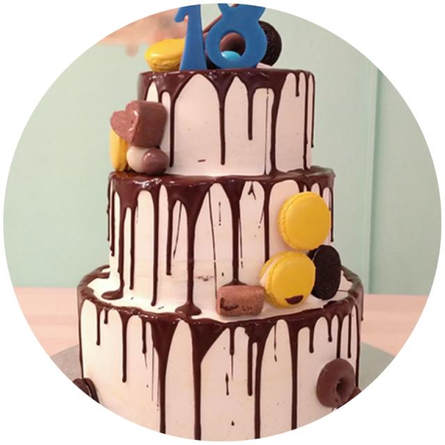 Drip cake de vainilla y chocolate