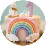 Tarta unicornio y arcoiris