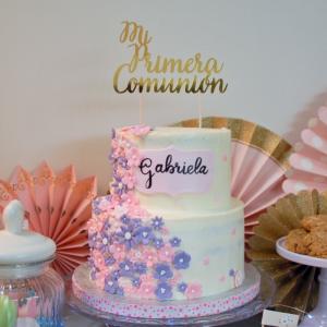 Tarta de comunion lila y rosa